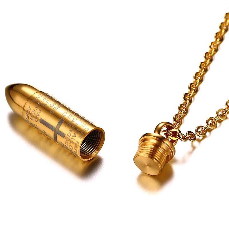 Engraved lords prayer bullet pendant holy faith store engraved lords prayer bullet pendant mozeypictures Gallery