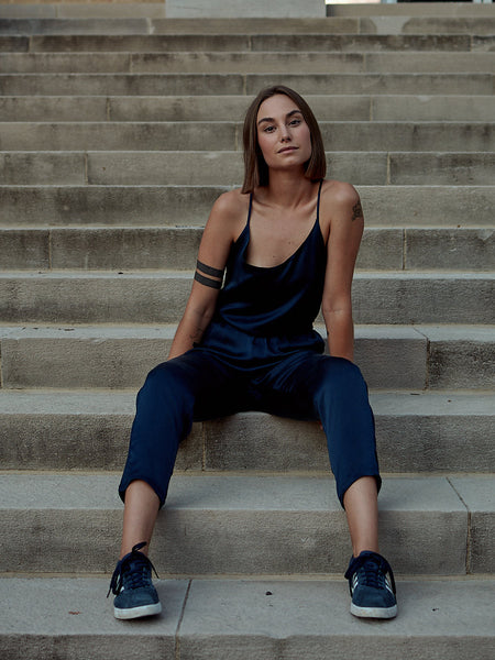 Silk Jumpsuit - Navy Blue