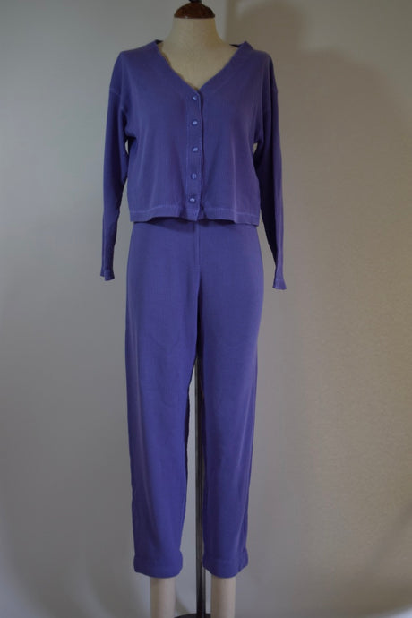Vintage Victoria's Secret Waffle Knit Set - Small - Cropped Pajamas