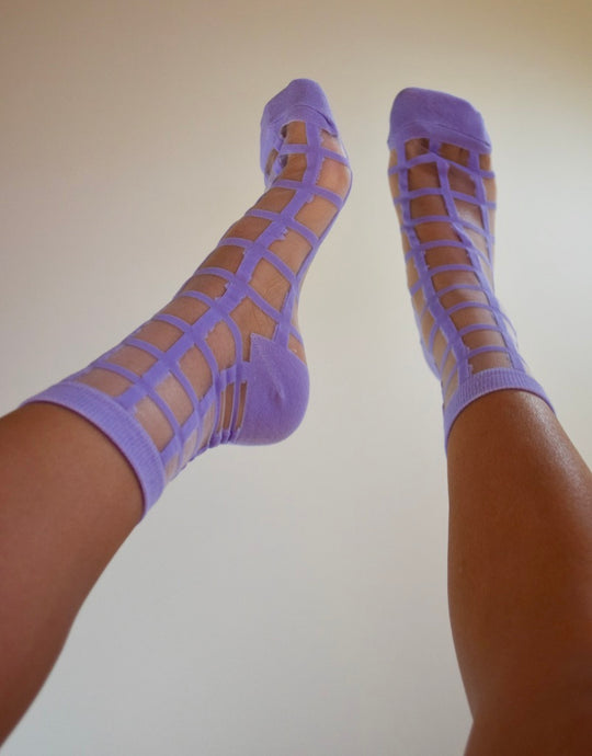 Sheer Grid Socks - Purple