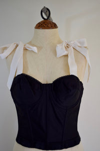 Vintage REpurposed Bustier - Black and White