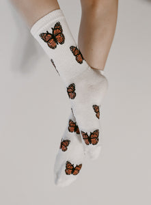 Butterfly Crew Socks - White