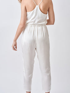 White Silk Crop Pajama Pants
