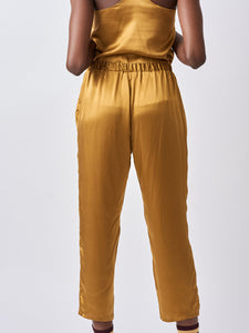 Gold Silk Crop Pajama Pants