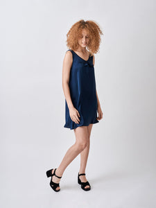 Silk A-line Babydoll dress Navy Blue