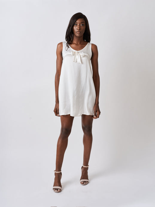 White Silk Babydoll Dress with bow