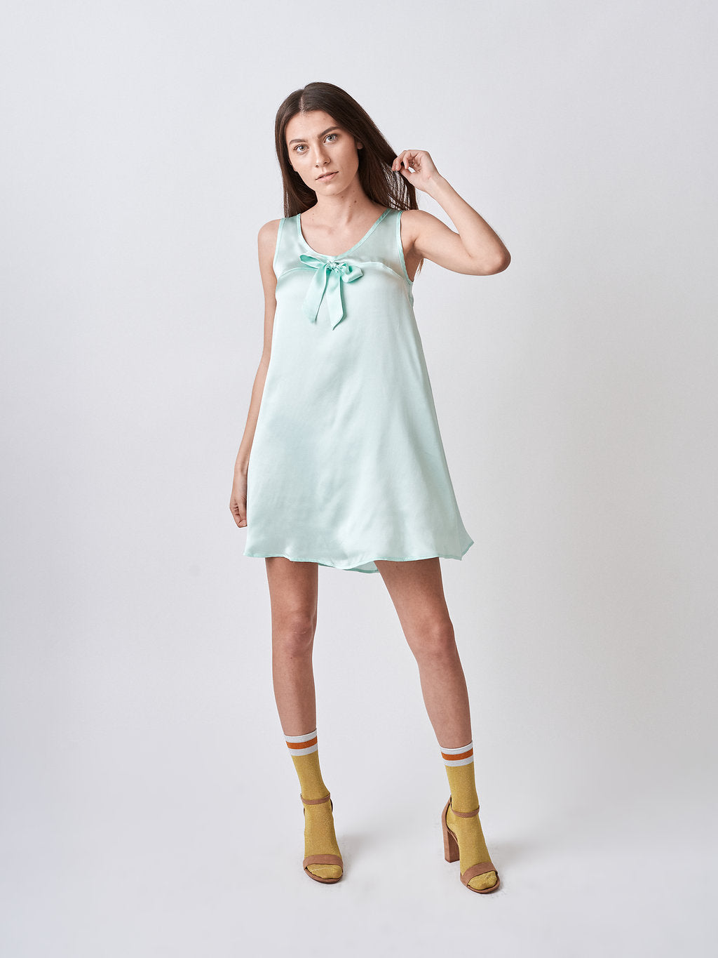 Green Silk Babydoll Dress with bow