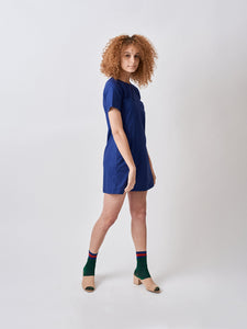 Vintage Style Cotton Shift Dress A-line Dress Navy Blue