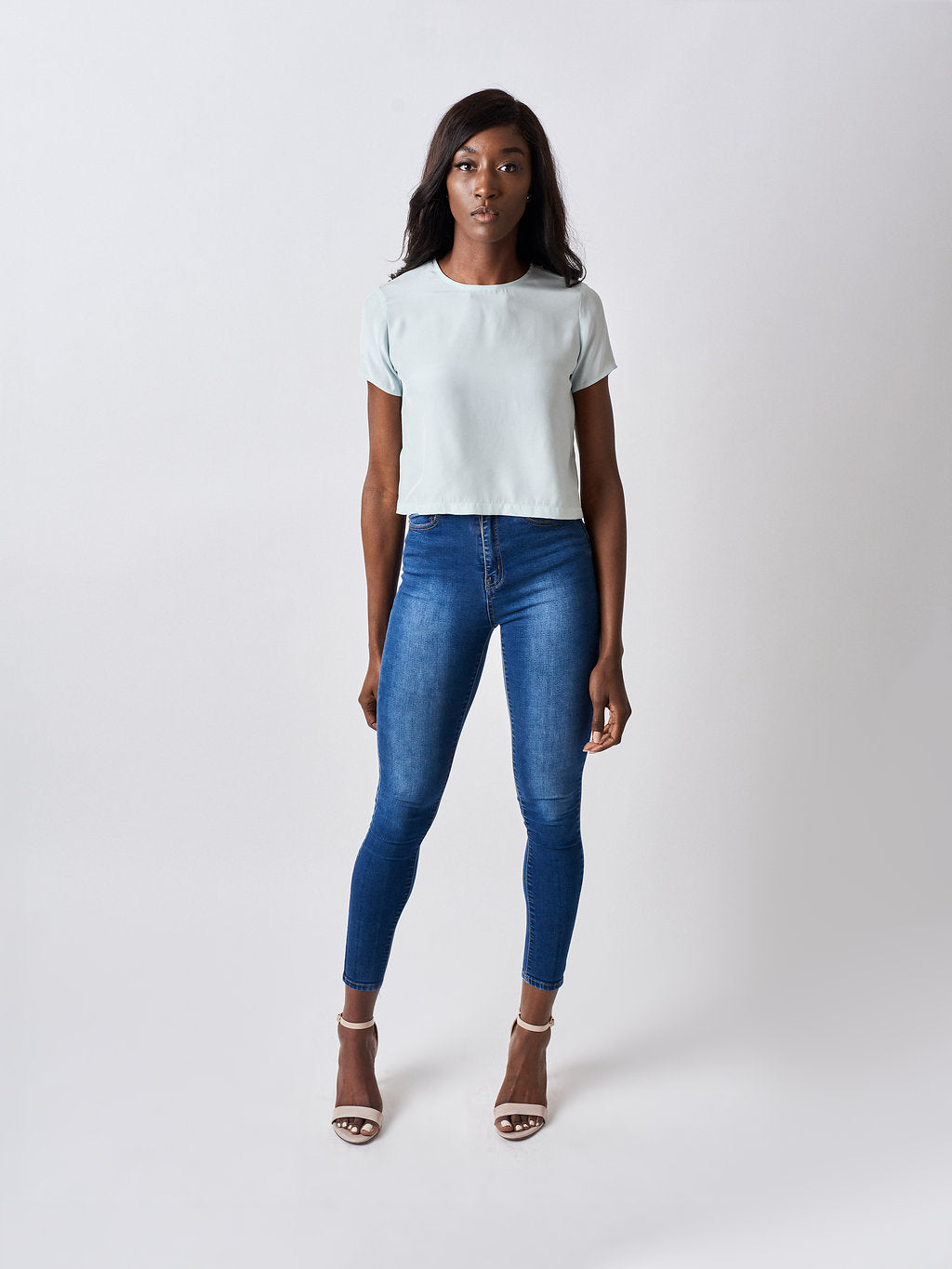 Silk Crop Top Pastel Blue