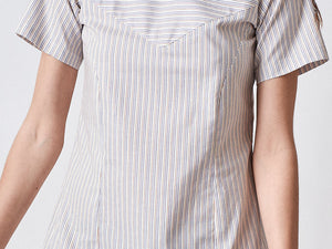 Vintage Style Cotton Shift Dress A-line Dress Pinstripe