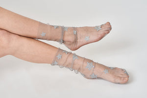 Silver Star Sheer Glitter Socks