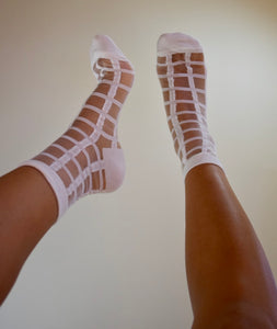 Sheer Grid Socks - White