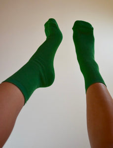 Solid Ribbed Crew Socks - Green