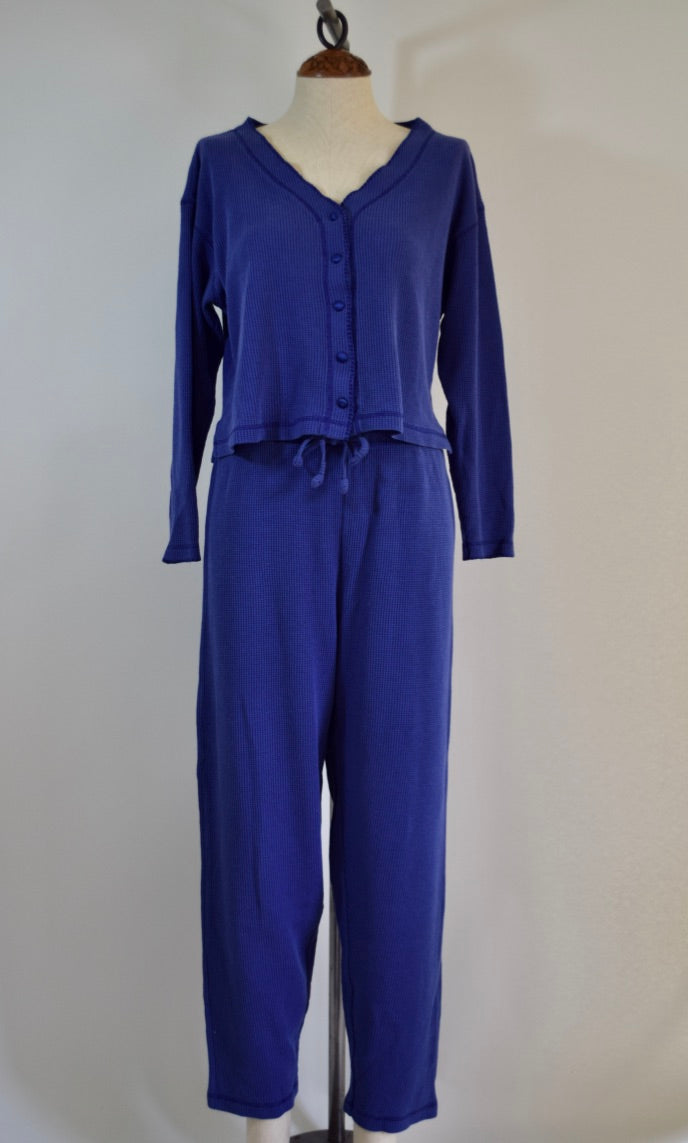 Vintage Victoria's Secret Waffle Knit Set - M - Cropped Pajamas