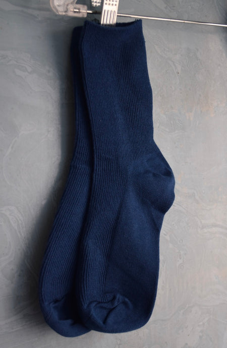 Solid Ribbed Crew Socks - Blue