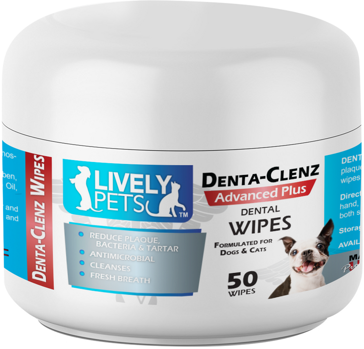 Denta-Clenz Dental Wipes for Dogs and Cats 50 ct | Peppermint Scented - LIVELY PETS ONLINE