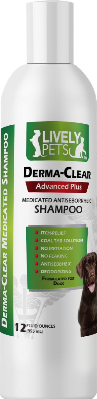 Derma-Clear Coal Tar and Salicylic Acid Mentholated Antiseborrheic Shampoo for Dogs 12 oz | 1 Case (Qty 12) - LIVELY PETS ONLINE