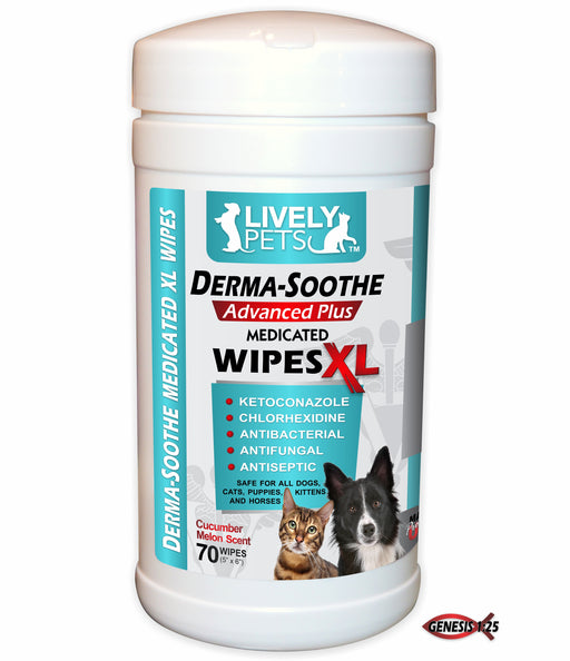 Derma-Soothe Ketoconazole & Chlorhexidine Medicated XL Wipes for Dogs and Cats 70ct. | 1 Case (Qty 12) - LIVELY PETS ONLINE