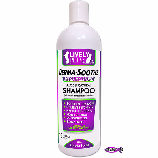 Derma-Soothe Aloe & Oatmeal Moisturizing Shampoo for Dogs and Cats 16oz - LIVELY PETS ONLINE