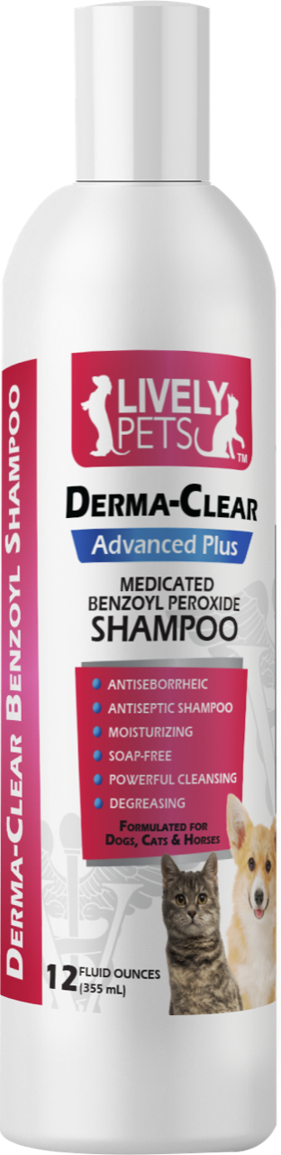 Derma-Clear Benzoyl Peroxide Shampoo Dogs Cats and Horses 12 oz | 1 Case (Qty 12) - LIVELY PETS ONLINE