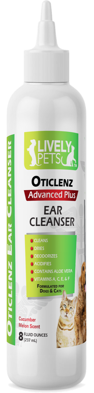 Oticlenz Ear Cleaner & Drying Solution for Dogs and Cats 8 oz | 2 SCENTS - LIVELY PETS ONLINE
