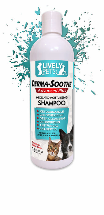 Derma-Soothe Medicated Shampoo - Ketoconazole and Chlorhexidine Dogs Cats Horses 16 oz