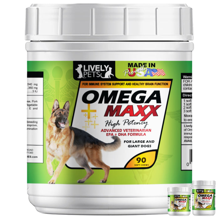 #1 Best Omega 3 Maxx Soft Chews for Large and Giant Breed Dogs 90 and 150 count chewies
