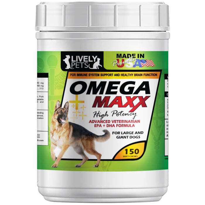 Omega 3 Maxx Soft Chews for Large and Giant Breed Dogs 150 ct