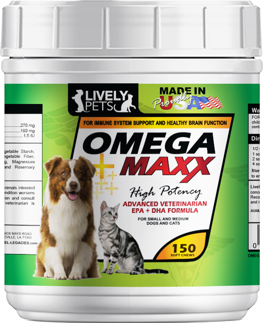 Omega Maxx Soft Chews for Small & Medium Dogs and Cats 150 ct | 1 Case (Qty 12) - LIVELY PETS ONLINE
