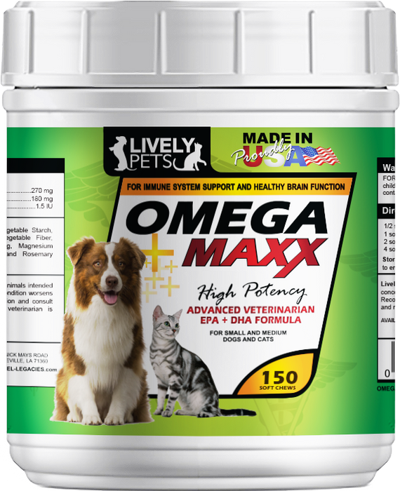Omega 3 Maxx Soft Chews for Small and Medium Breed Dogs and Cats 150 count chewies