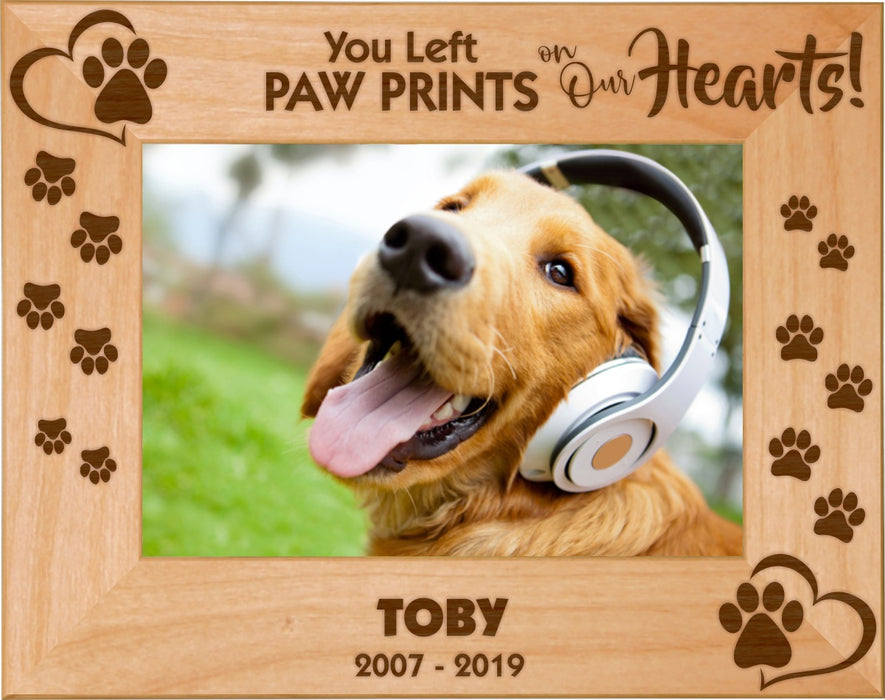 "Pet Memories Leave Paw Prints on Our Hearts 5"" x 7"" Photo Picture Frames - Dogs, Cats, Horses - LIVELY PETS ONLINE"
