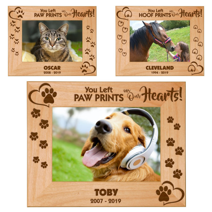 "Pet Memories Leave Paw Prints on Our Hearts 5"" x 7"" Photo Picture Frames - Dogs, Cats, Horses"