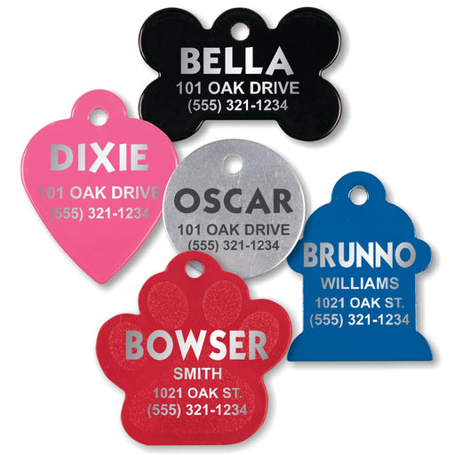 Pet Identification Tags for All Size Dogs and Cats | 5 STYLES | 5 COLORS | FREE SHIPPING!