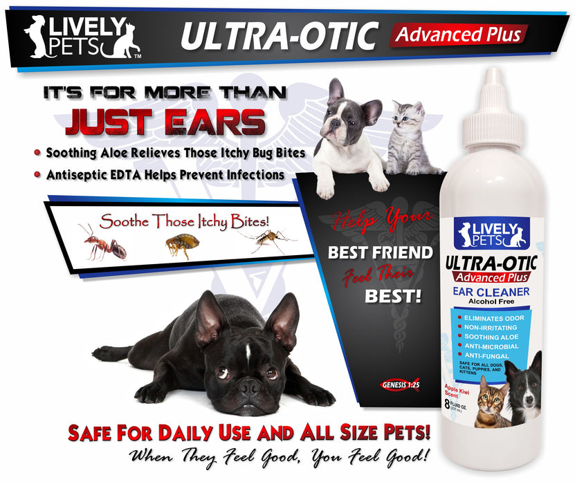 Ultra-Otic Advanced Plus Ear Cleaner for Dogs and Cats 8oz - LIVELY PETS ONLINE