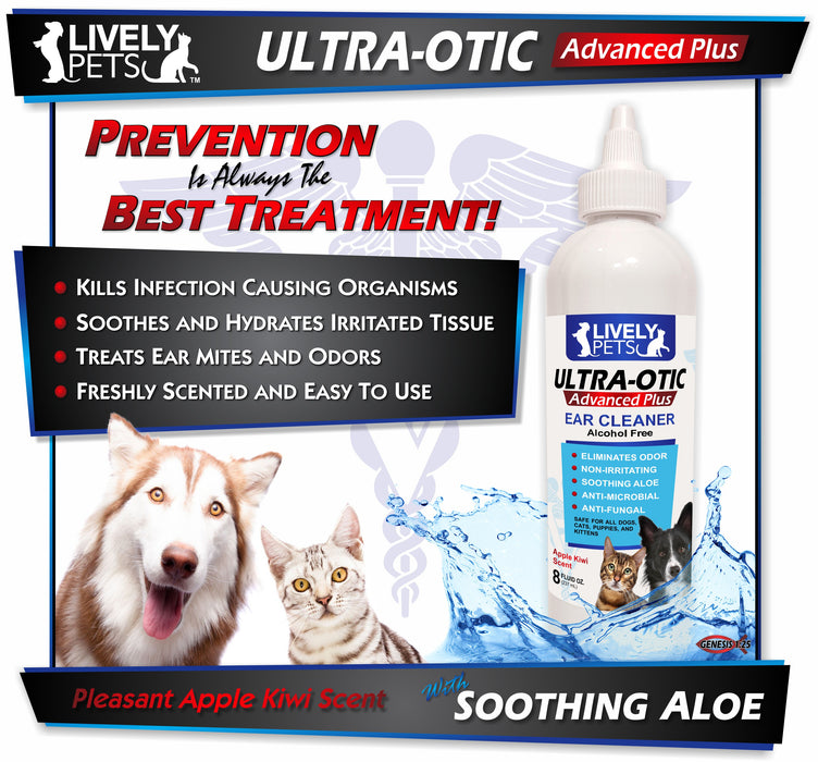 #1 Ultra-Otic Advanced Plus Best Ear Cleaner for Dogs and Cats 8oz Bottle