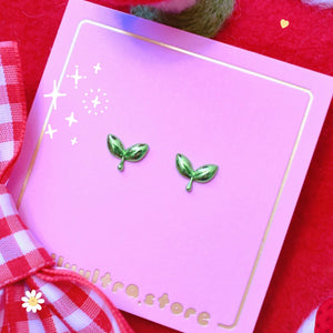 Dainty Green Sprout Earrings