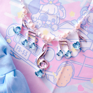 Lovely Melody Necklace - Silver x Blue