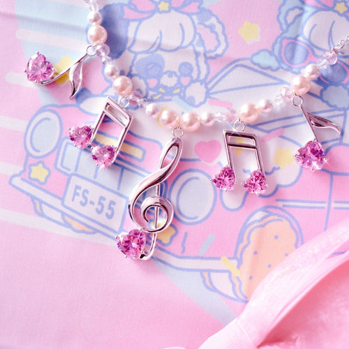 Lovely Melody Necklace - Silver x Pink
