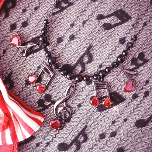 Lovely Melody Necklace - Black x Red