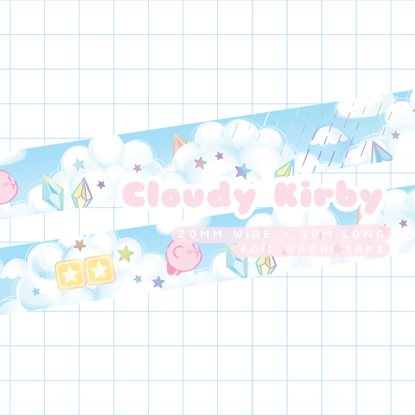 Cloudy Kirby Foil Washi Tape