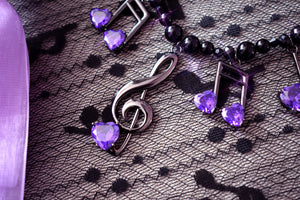Lovely Melody Necklace - Black x Purple