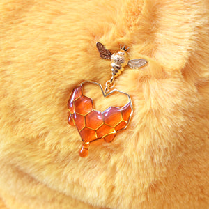 *PREORDER* Honeycomb Heart Handmade Pin 18k Gold