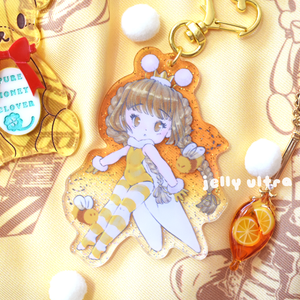 Honey Bee Fae Glitter Acrylic Charm - 8cm