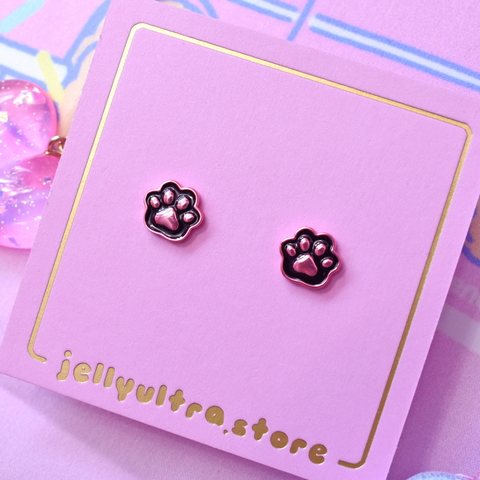 Dainty Black Cat Paw Earrings