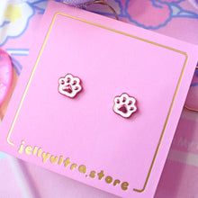 Dainty White Cat Paw Earrings
