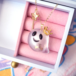 Transparent Royal Ghost Necklace with Bat
