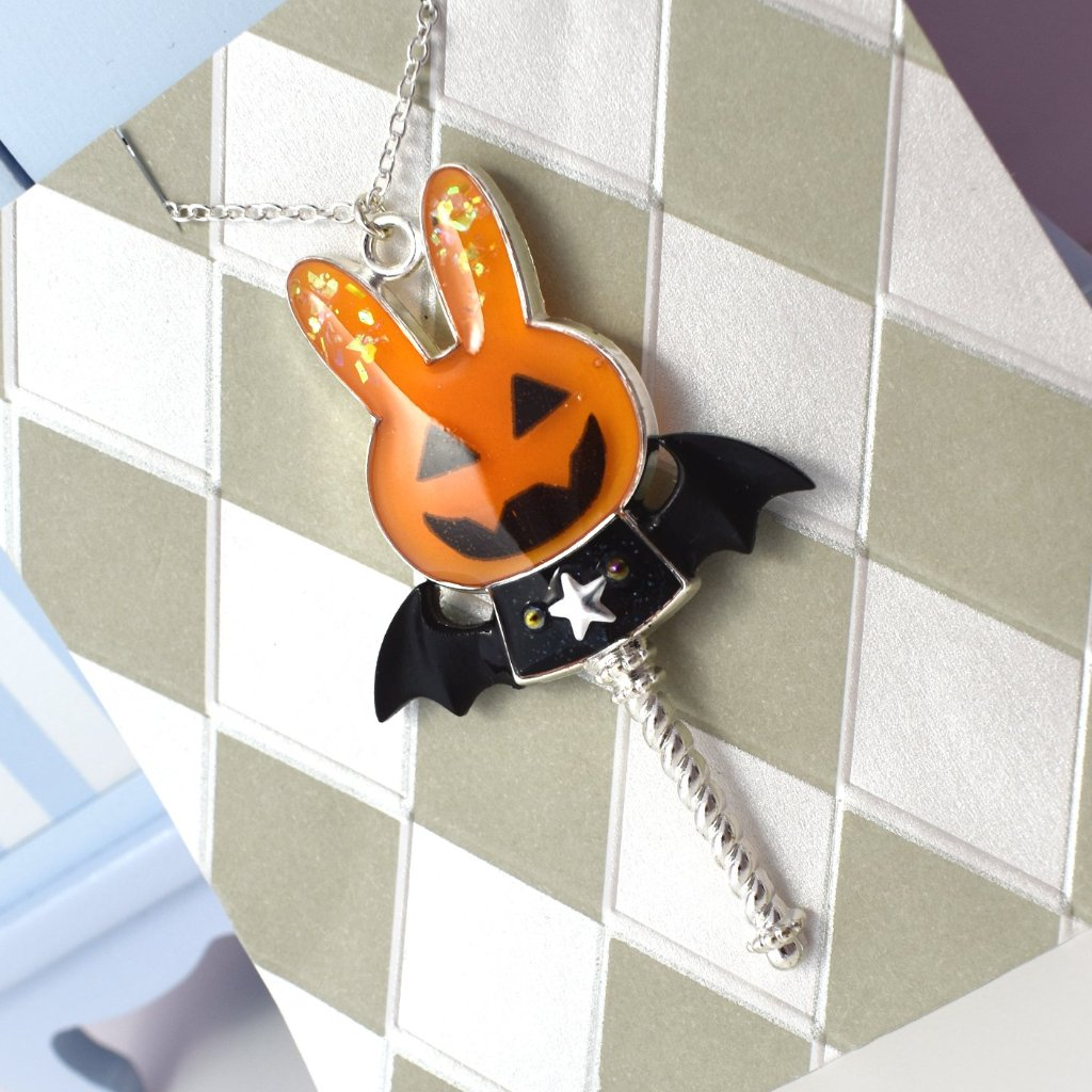 Silver x Orange Jack-O-Lantern Bunny Necklace