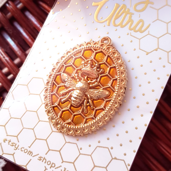 Queen Bee Honeycomb Brooch