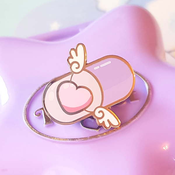 Encapsulated Heart Pill Enamel Pin
