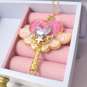 Pink x Gold Magic Moon Wand Necklace